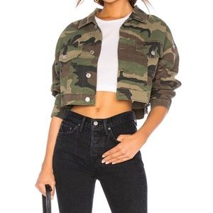 Re/Done Camo Print Crop Jacket xs